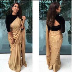 golden saree with black blouse designs Black Blouse Designs, Saree Blouse Neck Designs, Black Saree Blouse, Blouse Patterns, Black Saree Plain, Full Sleeves Blouse Designs, Neckline Designs, Golden Saree, Stylish Blouse Design