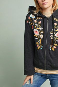 Embroidered Hooded Sweatshirt | Anthropologie