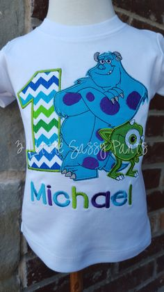 Monsters Inc. Birthday Embroidered Shirt by 3LittleSassyPants