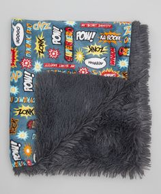 Gray Superhero Minky Blanket by My Adorable Place