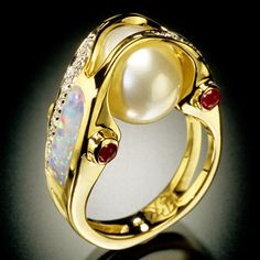 RANDY POLK DESIGNS - Pearl Ring with Australian Opal Inlay, 4 Tube-set Rubes and approximately 23 Diamonds