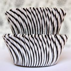 Mini Black Candy Stripe Baking Cups from Layer Cake Shop!  #cupcake #liner #wrapper