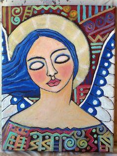-Original Folk Art Angel on textured canvas Linda by lindakellyart