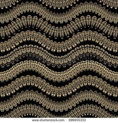 Vector abstract seamless zig-zag pattern with stylized bird feather silhouette. Horizontal golden waves,lacy tribal ornaments on a black background. Wallpaper, wrapping. Folk, ethnic