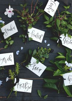 Incorporate nature into your wedding by opting for these DIY mini bouquet place cards.