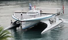 The PlanetSolar, the first solar-powered boat to travel around the world