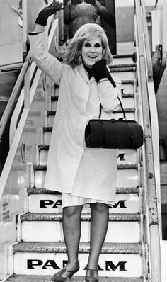 Dusty Springfield jets off at Heathrow for a holiday in Rio de Janeiro, 1965 Call Dusty, White Lipstick, Dusty Springfield, Heathrow Airport, Air Travel, Celebs, Celebrities, Vintage Pictures, Travel Style