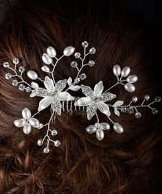 This Rhinestone & Faux Pearl Flower & Vine Hair Comb is perfect! #zulilyfinds