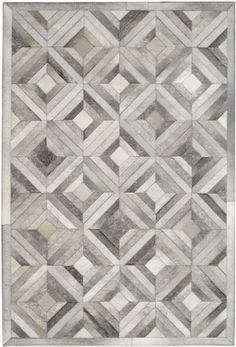 Madisons Grey Parquet Pattern Patchwork Cowhide Rug