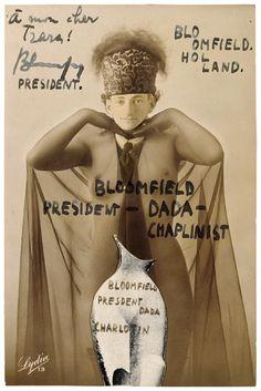 Erwin Blumenfeld, Bloomfield, President-Dada-Chaplinist, 1921, lettre à Tristan Tzara (letter to Tristan Tzara), photomontage.