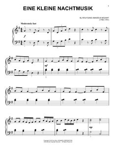 Wolfgang Amadeus Mozart & Little Night Music& Sheet Music .-Wolfgang Amadeus Mozart 'Eine Kleine Nachtmusik' Sheet Music, Notes & Chords Wolfgang Amadeus Mozart A Little Night Music sheet music, piano notes, chords - Sheet Music Direct, Sheet Music Pdf, Sheet Music Notes, Digital Sheet Music, Piano Sheet Music, Music Sheets, Happy Birthday Music, Vive Le Vent, Piano Score