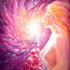 Woman with roses in the pink light of the galaxy