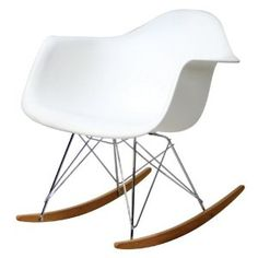 Modway Rocker Mid-Century Modern Molded Plastic Living Room Lounge Chair Rocker in White White Rocking Chairs, Eames Rocking Chair, Living Room Lounge, My Living Room, Plastic Rocking Chair, Eames Chair Replica, Eames Rocker, Pc Gaming Chair, Plastic Molds