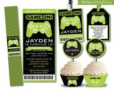 Instant+Download-Video+Game+Party+by+AllAboutPartyPrints+on+Etsy Xbox Party, Game Truck Party, Dj Party, Happy Birthday Games, Kids Birthday Party Invitations, 13th Birthday, Game Themes, Party Themes, Party Ideas