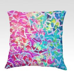 A BEAUTIFUL MESS 2  Fine Art Velveteen Throw Pillow Cover, Decorative Home Decor Colorful Magenta Pink Turquoise Royal Blue Ombre Fine Art Toss Cushion, Modern Bedroom Bedding Dorm Room Living Room Style Accessories by EbiEmporium, $75.00