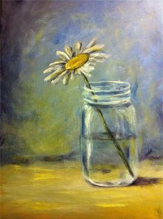 Daisy in a Mason Jar : 12X16 Acrylic Painting on Stretched Canvas - Painting Party