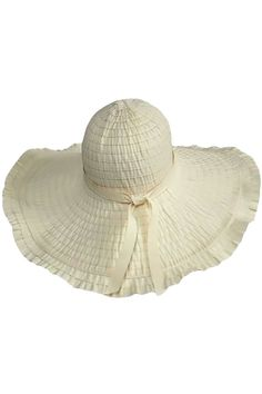 Wide Brim Floppy Sun Hat With Ruffled Brim
