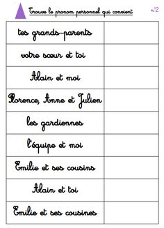 atelier autocorrectif : les pronoms personnels