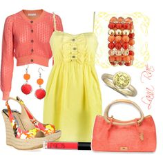 Sunshine yellow & coral, created by luchenskil on Polyvore