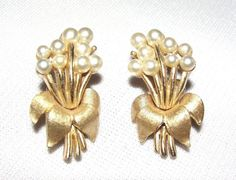 PRICE $24.99 - Vtg Crown Trifari Faux Pearl Gold Textured Leaf Bouquet Flower Floral Earring #Trifari #ClusterFlower Leaf Brooch Pin Earrings ..... We are TOP RATED * POWER Sellers on EBAY * Selling WORLDWIDE. Visit us at our EBAY STORE * 4COOLSTUFF2BUY with any questions or items for sale.
