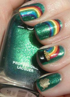 Cute Toe Nails, Toe Nail Art, Pretty Nails, Fancy Nails, Garra, Irish Nails, St Patricks Day Nails, Saint Patricks, Rainbow Nails