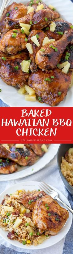 Hawaiian Barbecue Baked Chicken (Huli-Huli Chicken) - Chicken drumsticks and thighs that are marinated in a Hawaiian inspired sauce then baked to mouthwatering perfection