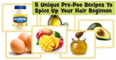 Fun pre poo recipes for natural or relaxed hair! Honey, conditioner, eggs, && olive oil