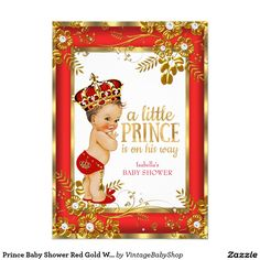 Prince Baby Shower Red Gold White Brunette Boy 5x7 Paper Invitation Card