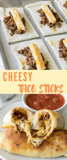 Cheesy Taco Sticks Cheesy Taco Sticks,College Recipes, Meals, Dorm Snacks So fun and easy to make! My kids love this simple recipe. Cheesy Taco Sticks– a fun Sunday lunch or dinner idea the whole. Beef Recipes, Mexican Food Recipes, Cheesy Recipes, Finger Food Recipes, Chicken Recipes, Kids Taco Recipes, Taco Recipe For Kids, Quick Taco Recipe, Recipe Kids Love