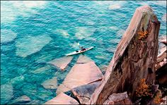 Pictured Rocks National Lakeshore in Michigan is the first national lakeshore in America. Outdoor Magazine recommends camping at Little Beaver Lake Campground (no RVs) or staying at Vista Grand Lodge in Munising.