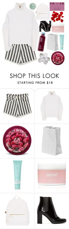 """""""I'm the violence in the pouring rain"""" by alanalove-123 ❤ liked on Polyvore featuring Victoria Beckham, The Body Shop, Rosenthal, KORA Organics by Miranda Kerr, Aerie, Deux Lux, Yves Saint Laurent, Tracie Martyn, bedroom and goals"""