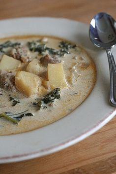 Garrett and I make this at home--a homemade version of Olive Garden's Zuppa Toscana. It is absolutely delicious! We cut the potatoes into thin rounds, use TONS of kale, and add bacon in with the italian sausage. I think some recipes call for heavy cream or half-and-half, but they're so rich that we've decided even skim milk would taste good. A perfect winter soup (and better than Olive Garden's)!