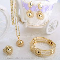 Beautiful Gift !!!2014 Gold Plated Jewelry Necklace Bangle Eerrings&Ring Wedding Dress Accessories Costume Jewelry Sets #A201