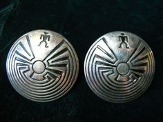 VINTAGE HOPI MAZE Earrings Sterling Silver by AuctionHunter, $55.00