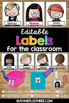 These cute editable labels are perfect for the classroom. They feature Melonheadz clip art and come with 168 different kids! Use the for book bags, cubbies, helpers, or desk name tags. Grab these amazing labels today! Book Box Labels, Cubby Labels, Cubby Tags, Desk Name Tags, Desk Tags, Classroom Name Tags, Classroom Themes, Future Classroom, Kids Name Labels