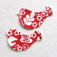 Christmas Birds  No Sew Iron On Applique Patches by stitcholicious, $3.00