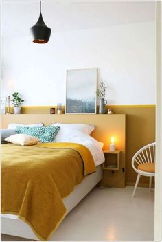Prettily Blinding Yellow Bedroom Ideas for Fresh Sleeping Spot Small Bedroom Designs, Modern Bedroom Design, Master Bedroom Design, Modern Room, Wood Bedroom, Home Decor Bedroom, Bedroom Ideas, Beautiful Bedrooms, Interior Design