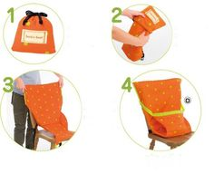 Sack 'n Seat - portable high chair that folds up into itself. And, it's washable!