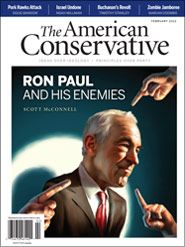 """February 2012 cover of American Conservative magazine: """"Ron Paul and His Enemies."""""""