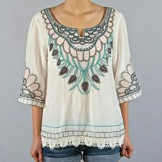 Boho top Embroidered boho summery top, long sleeved Jasmine Bay apparel   Tops