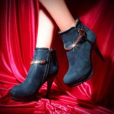 Exquisite Blue Suede Chains Round Closed Toe Stiletto Super High Heel Boots #ShopSimple