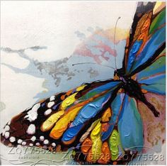 "NO Frame/Pure Hand-painted Canvas Oil Painting Art ""Butterfly"" YH15512 #ArtDeco"