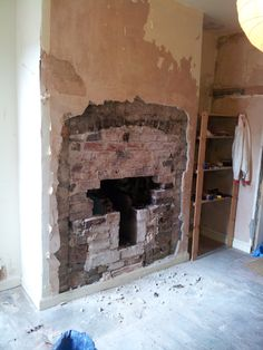 Pin On How To Expose A Brick Chimney Breast And Cement Hearth