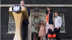 David Cameron and his family as he makes his final speech on Downing Street