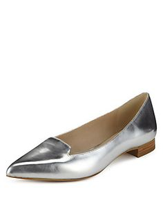 Silver Albert Flat Pointed Toe Pumps with Insolia Flex®