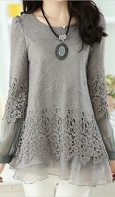 Cotton blend and chiffon tunic with satin lining and lace overlay in pale grey