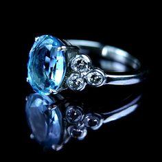 Aquamarine and diamond engagement ring by rmrayner, via Flickr