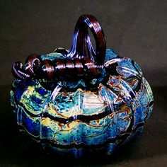 Decorative Glass Pumpkins Pumpkin Art, Pumpkin Crafts, Autumn Decorating, Pumpkin Decorating, Glass Vessel, Glass Ceramic, Creative Pumpkins, Glass Floats, Cobalt Glass