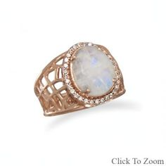 14 Karat Rose Gold Plated Sterling Silver Large Rainbow Moonstone Ring