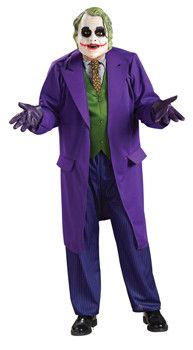 What's Halloween without the Joker? This costume comes with a deluxe polyester jacket and attached shirt, tie, vest, pants, and latex mask. The gloves here are not included. Standard size fits up to s